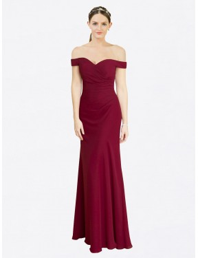 Shop Burgundy Mermaid Fit and Flare Off the Shoulder  Sleeveless Chiffon Bridesmaid Dress Quebec