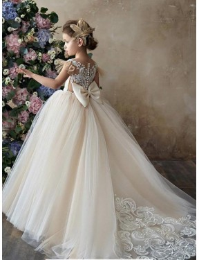 Shop Champagne Ball Gown Sweetheart Chapel Train Sleeveless Lace & Tulle Flower Girl Dress Quebec