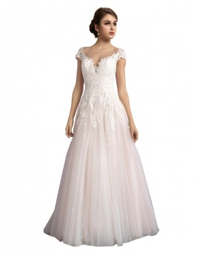 Shop Ivory & Champagne A-Line Illusion Cathedral Train Cap Sleeves Tulle Wedding Dress Quebec
