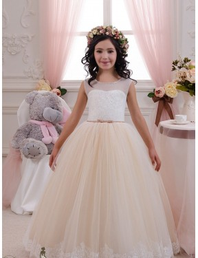 Shop Ivory & Champagne Ball Gown Sweetheart  Sleeveless Lace & Tulle Flower Girl Dress Quebec